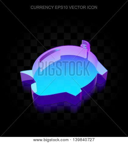 Currency icon: 3d neon glowing Money Box made of glass with transparent shadow on black background, EPS 10 vector illustration.