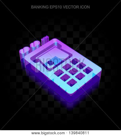 Currency icon: 3d neon glowing ATM Machine made of glass with transparent shadow on black background, EPS 10 vector illustration.