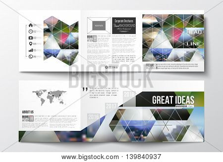 Set of tri-fold brochures, square design templates with element of world map. Abstract colorful polygonal background, natural landscapes, geometric, triangular style vector illustration