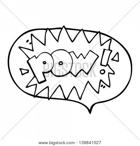 freehand drawn speech bubble cartoon pow symbol