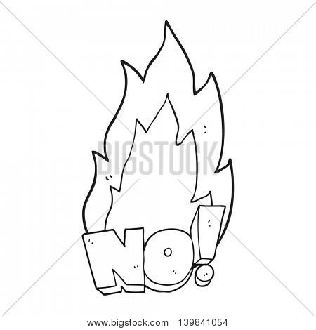 freehand drawn black and white cartoon NO! shout