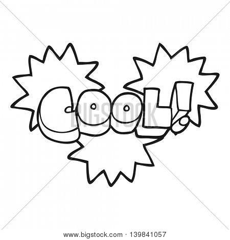 cool freehand drawn black and white cartoon symbol