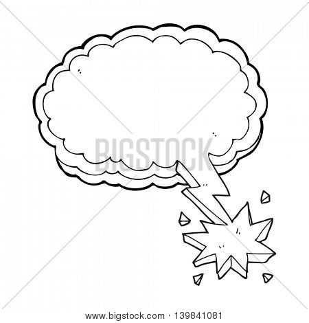 freehand drawn black and white cartoon lighting strike symbol