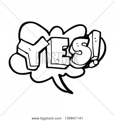 freehand drawn black and white cartoon yes design element