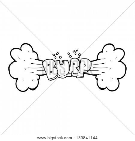 freehand drawn black and white cartoon burp symbol