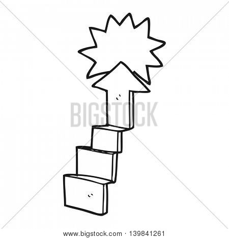 freehand drawn black and white cartoon stepping up arrow