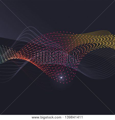 Smoke pattern on dark background. Colorful blending lines with shiny effects, business or hi-tech minimal message presentation template