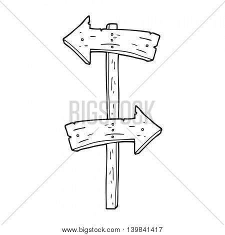 freehand drawn black and white cartoon wooden direction sign