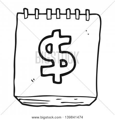 freehand drawn black and white cartoon note pad with dollar symbol