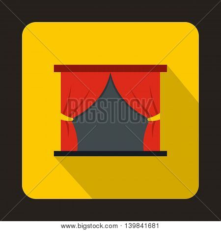 Theater stage with a red curtain icon in flat style on a yellow background