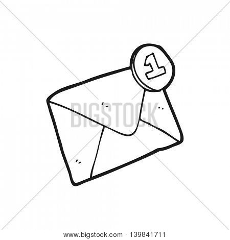 freehand drawn black and white cartoon email
