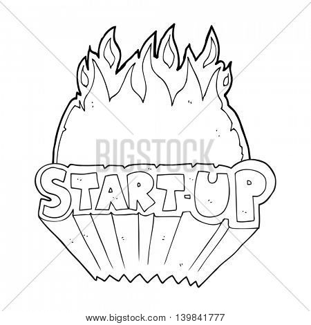 freehand drawn black and white cartoon startup symbol