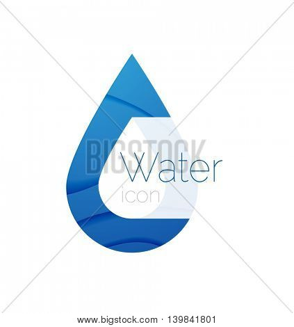 Minimal abstract droplet logotype. Company identity label, pure spring water idea