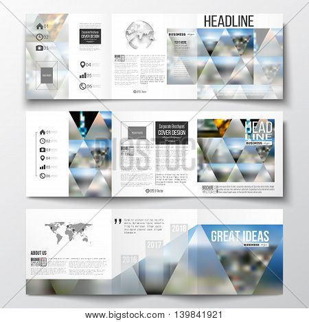 Set of tri-fold brochures, square design templates with element of world map and globe. Abstract colorful polygonal background, natural landscapes, geometric, triangular style vector illustration