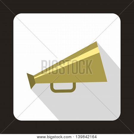 Retro metallic megaphone icon in flat style on a white background