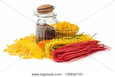 Assortment of raw multicolored pasta isolated on white background