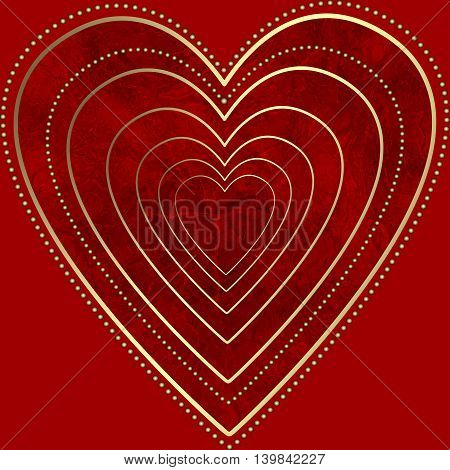 Red grunge heart isolated on a red background