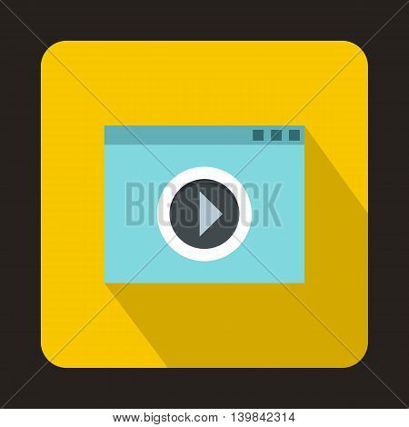 Video movie media player icon in flat style on a yellow background