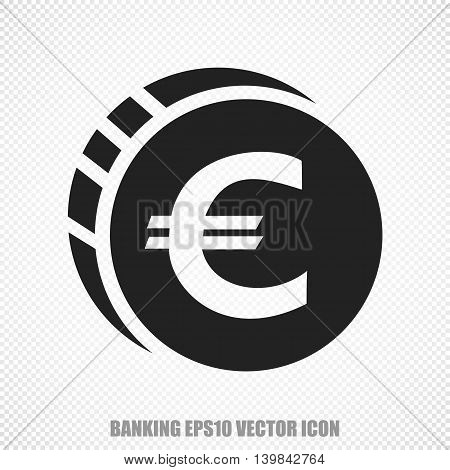 The universal vector icon on the currency theme: Black Euro Coin. Modern flat design. For mobile and web design. EPS 10.
