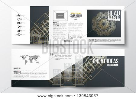 Set of tri-fold brochures, square design templates with element of world map. Round golden technology pattern on dark background, mandala template with connecting lines and dots.