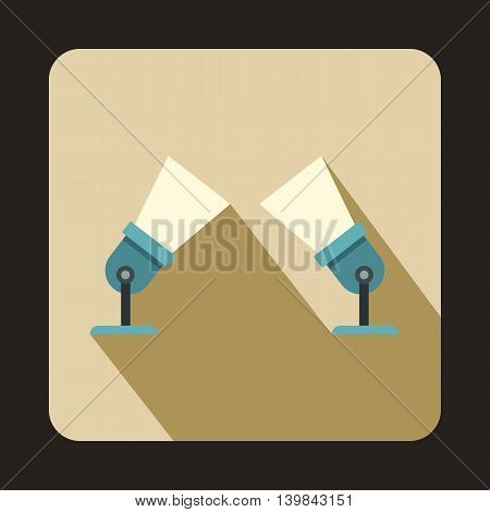 Two spotlights icon in flat style on a beige background