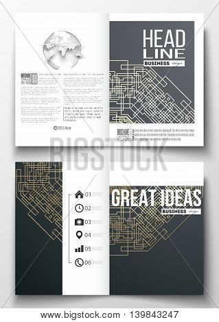 Set of business templates for brochure, magazine, flyer, booklet or annual report. Round golden technology pattern on dark background, mandala template, connecting lines and dots, connection structure.