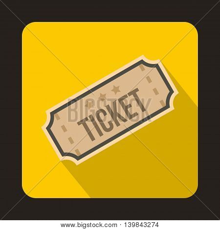 Ticket icon in flat style on a yellow background