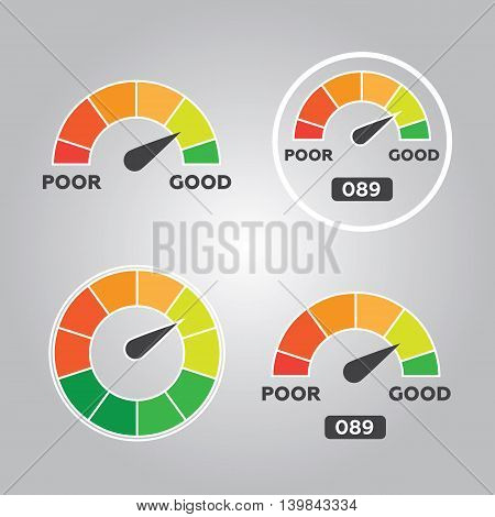 Credit score indicators and gauges vector eps 10
