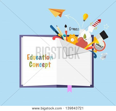 Education concept open book with school subjects. Flat vector illustration