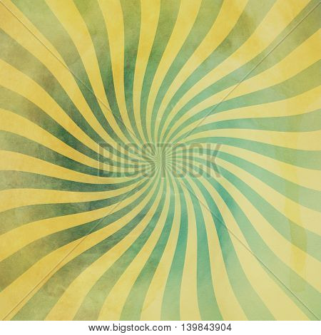 Grunge Green And Yellow Vintage Sunburst Swirl, Twirl Background Texture