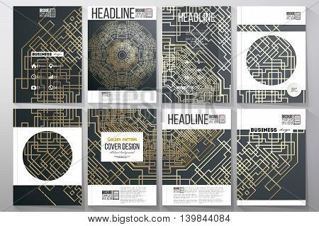 Set of business templates for brochure, flyer or booklet. Golden technology pattern on dark background with connecting lines and dots, connection structure. Digital scientific vector.