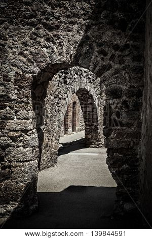 corridor of an ancient castle. Picture with high contrast effect.
