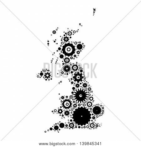 United Kingdom map silhouette mosaic of cogs and gears. Black vector illustration on white background.
