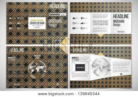 Vector set of tri-fold brochure design template on both sides with world globe element. Islamic gold pattern with overlapping geometric square shapes forming abstract ornament. Vector stylish golden texture on black background.