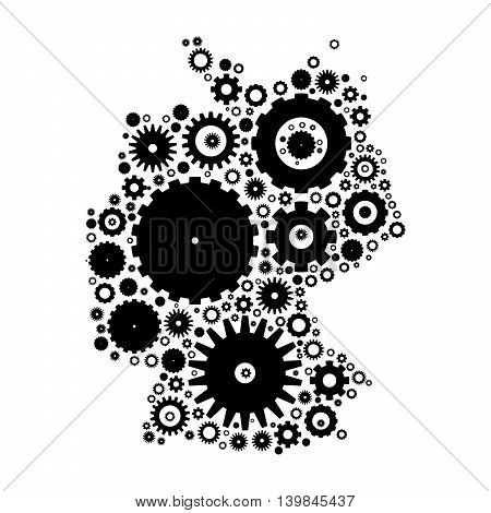 Germany map silhouette mosaic of cogs and gears. Black vector illustration on white background.