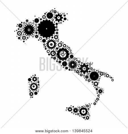 Italy map silhouette mosaic of cogs and gears. Black vector illustration on white background.