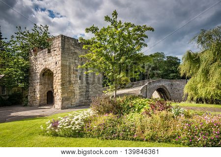 Old Medieval Bridge at Warkworth, is one of just two fortified bridges in Briton