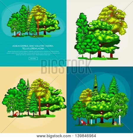 Forest green trees on the grass bush in summer landscape background. Nature landscape design elements isolated with green trees, grass bush animals. Isolated ecology natural wood trees set vector.