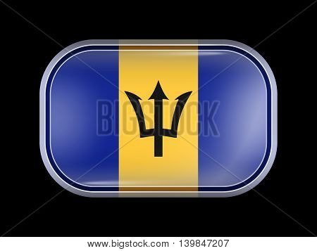 Flag Of Barbados. Rectangular Shape With Rounded Corners