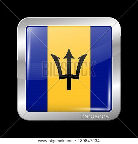 Flag Of Barbados. Metal Icon Square Shape