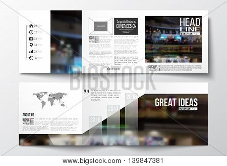 Set of tri-fold brochures, square design templates with element of world map. Leaflet cover, abstract geometric background, business layout.