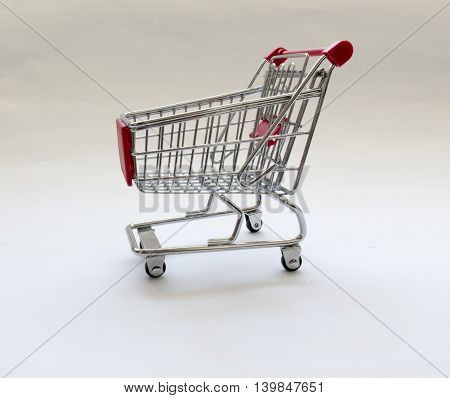 shopping cart on wheels on white background