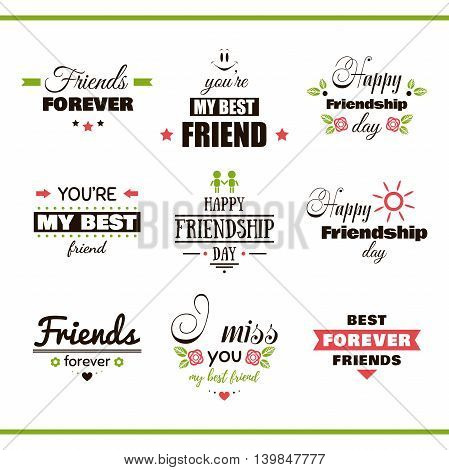 Collection of color labels with congratulation on white background. Happy Friendship Day. Vector illustration.