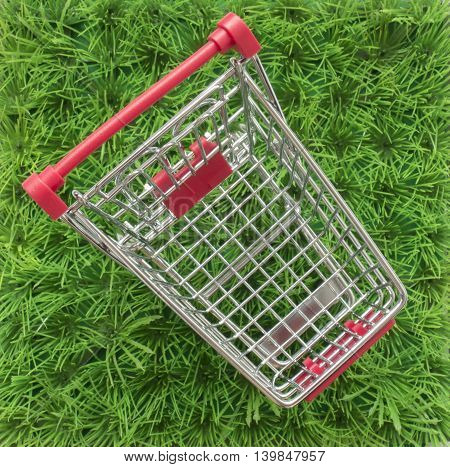 Shopping Trolley On A Green Lawn And A White Background With Space For Text
