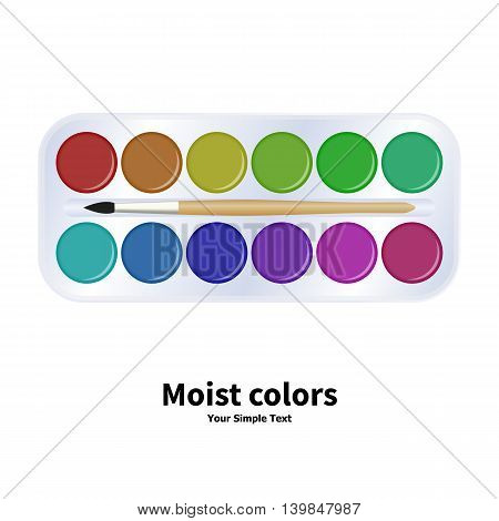 Vector illustration packaging with watercolor paints and brush. Moist colors for school isolated on a white background.