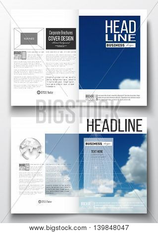 Set of business templates for brochure, magazine, flyer, booklet or annual report. Beautiful blue sky, abstract geometric background with white clouds, leaflet cover, business layout, vector.