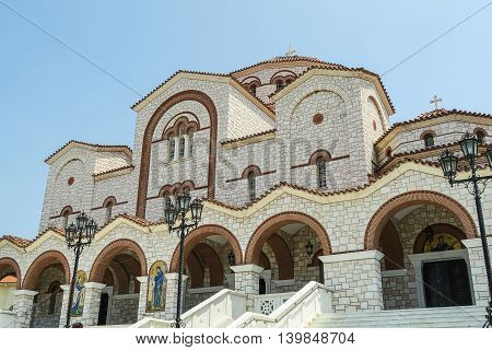 Orthodox Church of Panagia Faneromeni. Nea Mixaniona Thessaloniki Greece. Orthodox pilgrims visit the church by the thousands on 23 August, nine days after the major celebration of the Assumption day.