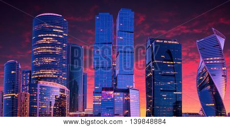 Moscow-city, Russia. Moscow International Business Center. at sunset