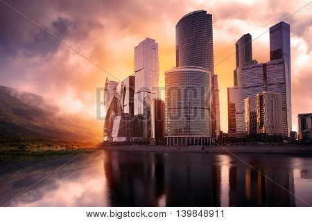 Skyscrapers utopia new modern city. Reflection in water
