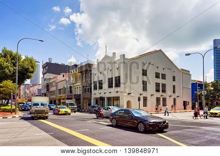 Car Traffic And Shop Houses In Clarke Quay In Singapore